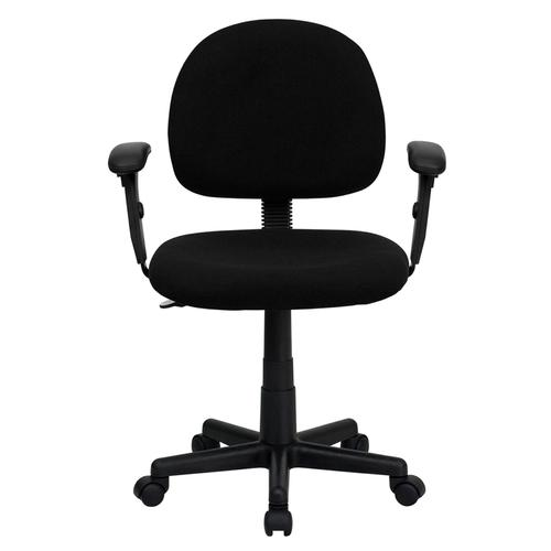 Gallery - Mid-Back Black Fabric Swivel Task Office Chair with Adjustable Arms