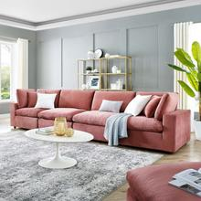 Commix Down Filled Overstuffed Performance Velvet 4-Seater Sofa in Dusty Rose