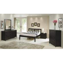Espresso Double Dresser, Mirror, Night Stand, 5 Drawer Chest