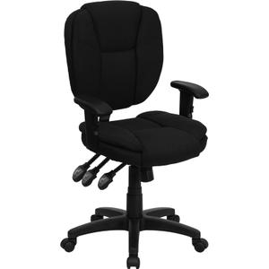 Gallery - Mid-Back Black Fabric Multifunction Swivel Ergonomic Task Office Chair with Pillow Top Cushioning and Arms