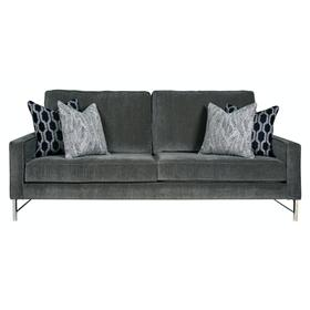 "Contemparary style track arm sofa. Shown with 8"" Plinth base. Also available with 8"" Tapered round, 8"" Pyramid, or 8"" Square tube legs."
