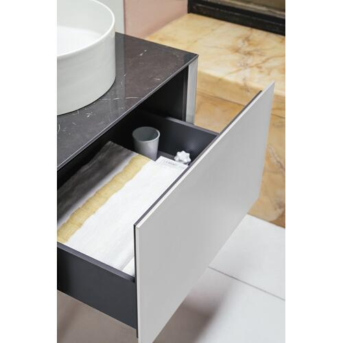 White Matte Drawer element, 1 drawer, matching bowl washbasins 812340, 812341, 812342, 812343, centre cut-out incl. drilled tap hole