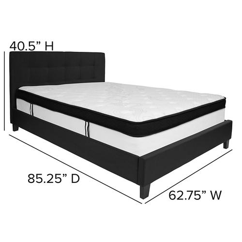 Chelsea Queen Size Upholstered Platform Bed in Black Fabric with Memory Foam Mattress