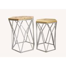 St. Augustine Metal and Wood Set of Tables