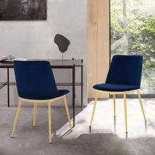 View Product - Messina Modern Blue Velvet and Gold Metal Leg Dining Room Chairs - Set of 2