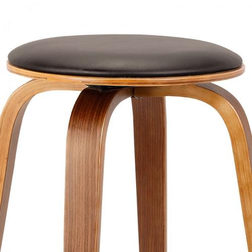 """Armen Living Harbor 26"""" Mid-Century Swivel Counter Height Backless Barstool in Brown Faux Leather with Walnut Veneer"""