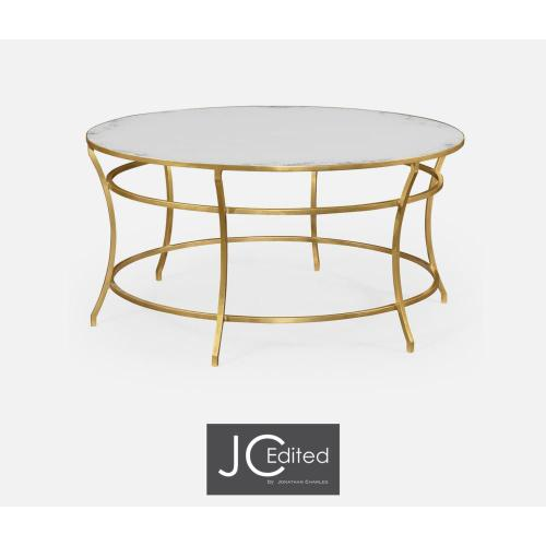 Gilded iron round coffee table