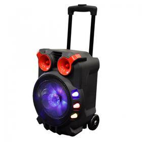 "8"" Loud Trolley Wireless Bluetooth® Speaker Disco Lights USB/TF Card/Mic Inputs Bass-Treble Control - PABT6055"
