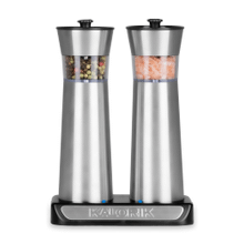 Product Image - Kalorik Rechargeable Gravity Salt and Pepper Grinder Set, Stainless Steel
