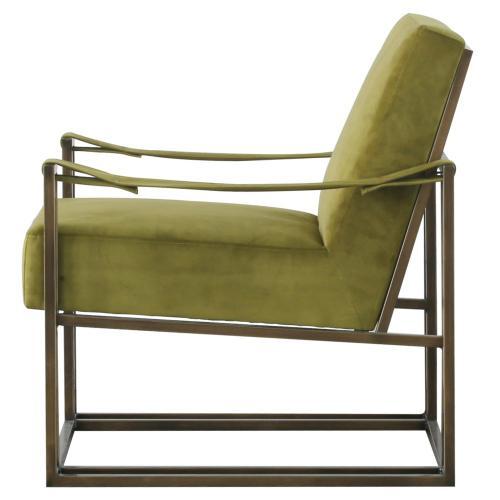 Esmond Velvet Fabric Arm Chair, Sabah Green