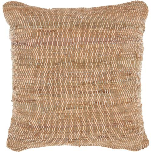 """Natural Leather Hide Dl505 Clay 20"""" X 20"""" Throw Pillow"""