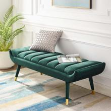 Guess Channel Tufted Performance Velvet Accent Bench in Green