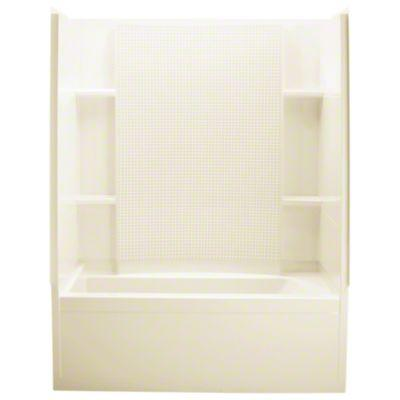 "Accord® Series 7115, 60"" x 32"" x 74"" Bath/Shower with Age-In-Place Backers-Left-hand Drain - KOHLER Almond"