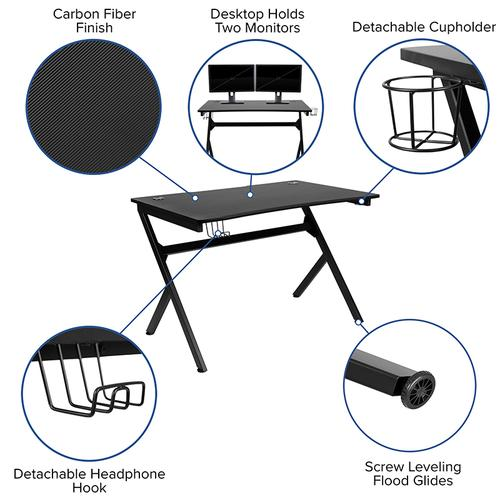 Flash Furniture - Black Gaming Desk and Gray\/Black Reclining Gaming Chair Set with Cup Holder, Headphone Hook & 2 Wire Management Holes