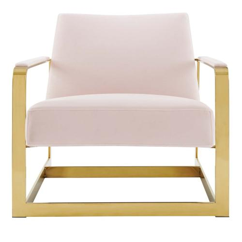 Modway - Seg Performance Velvet Accent Chair in Gold Pink