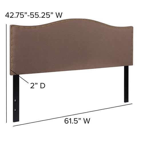 Flash Furniture - Lexington Upholstered Queen Size Headboard with Accent Nail Trim in Camel Fabric