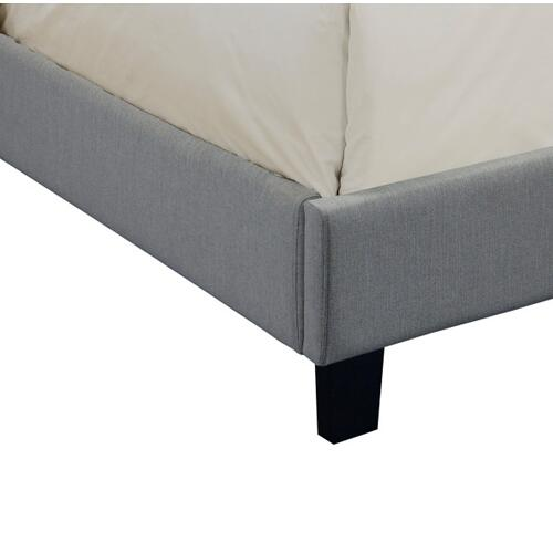 Accentrics Home - King All-In-One Scalloped Tufted Upholstered Bed in Dupree Mist