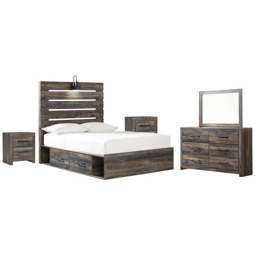 Ashley - Full Panel Bed With 2 Storage Drawers With Mirrored Dresser and 2 Nightstands