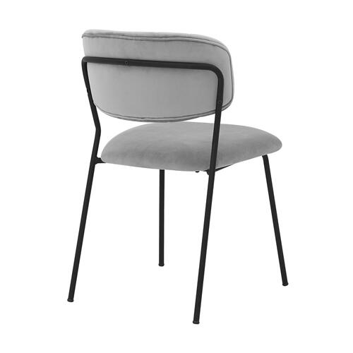 Carlo Modern with Black Metal Finish and Gray Velvet Dining Room Chairs - Set of 2