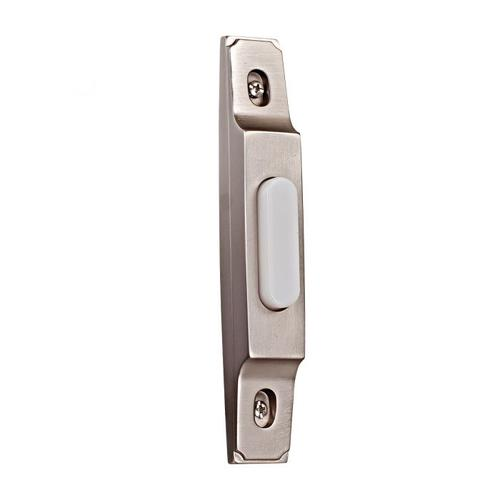 Surface Mount Thin Profile Lighted Push Button in Pewter