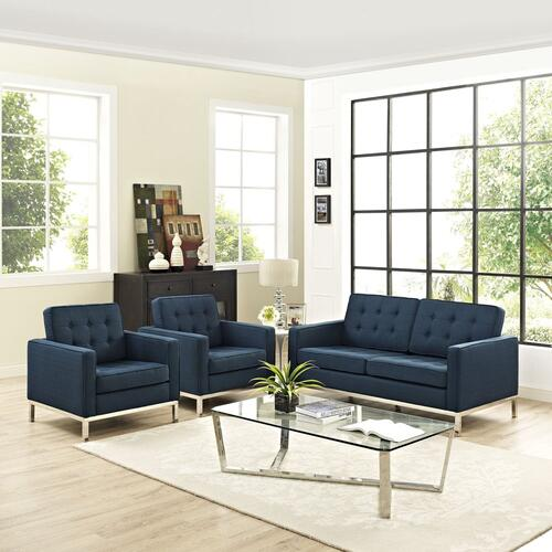 Modway - Loft Living Room Set Upholstered Fabric Set of 3 in Azure