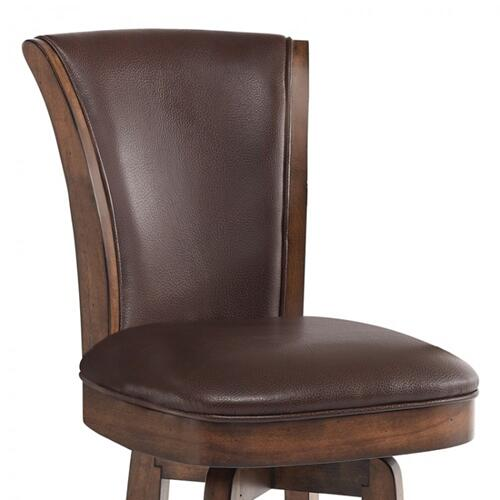 """Armen Living Raleigh 30"""" Bar Height Swivel Wood Barstool in Chestnut Finish and Kahlua Faux Leather"""