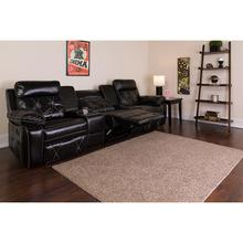 See Details - Reel Comfort Series 3-Seat Reclining Black LeatherSoft Theater Seating Unit with Straight Cup Holders