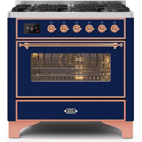 """Ilve - 36"""" Majestic II Series Freestanding Dual Fuel Single Oven Range with 6 Sealed Burners, Triple Glass Cool Door, Convection Oven, TFT Oven Control Display and Child Lock in Midnight Blue"""