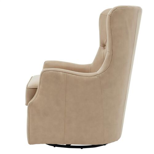 Anthony Top Grain Leather Swivel Rocker Tufted Accent Arm Chair, Garrett Beige