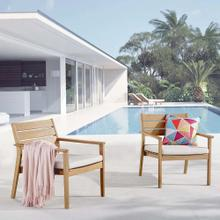 Breton Outdoor Patio Ash Wood Armchair Set of 2 in Natural Taupe