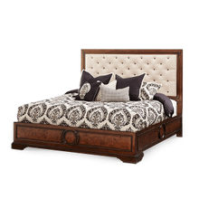 California King Panel Bed w/Fabric Tufted Headboard