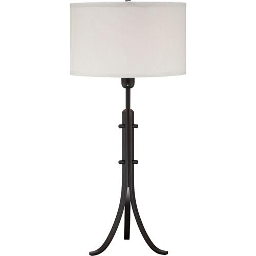 Table Lamp, Aged Black/off-white Fabric Shade, E27 A 100w