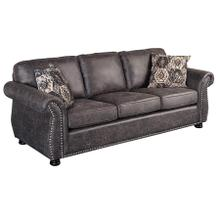 See Details - Elk River Sofa in Faux Gray Leather Fabric with Nailhead