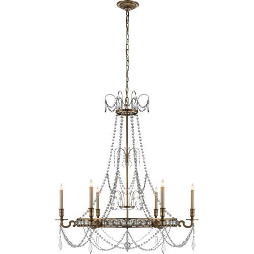 Visual Comfort CHC1547AB E. F. Chapman Belvoir 6 Light 35 inch Antique-Burnished Brass Chandelier Ceiling Light