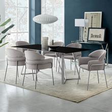 Cressida and Portia Gray Velvet 7 Piece Rectangular Dining Set