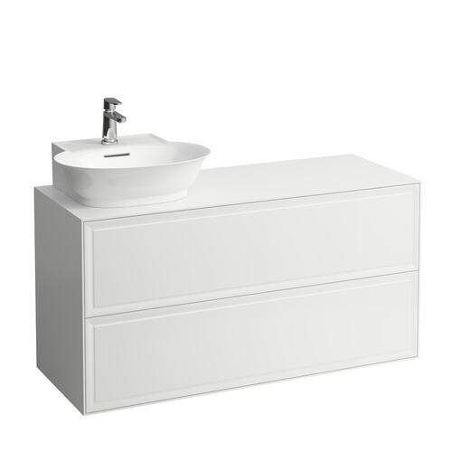 White Matte Drawer element, 2 drawers, cut-out left, matches small washbasin 816852