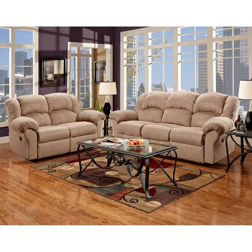 Exceptional Designs by Flash Reclining Living Room Set in Sensations Camel Microfiber