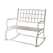 See Details - Distressed Grey Rocking Bench