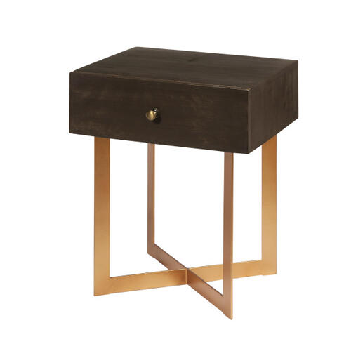 Accentrics Home - One Drawer Iron X Base Side Table