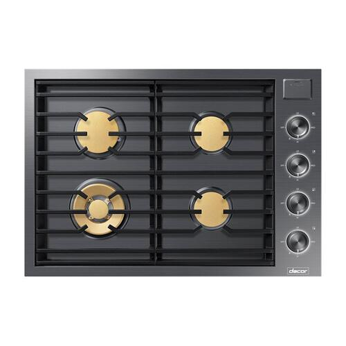"30"" Gas Cooktop, Silver Stainless Steel, Natural Gas"