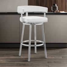 """Lorin 30"""" White Faux Leather and Brushed Stainless Steel Swivel Bar Stool"""