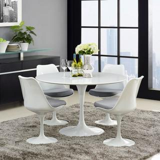 """Lippa 47"""" Round Wood Top Dining Table in White"""