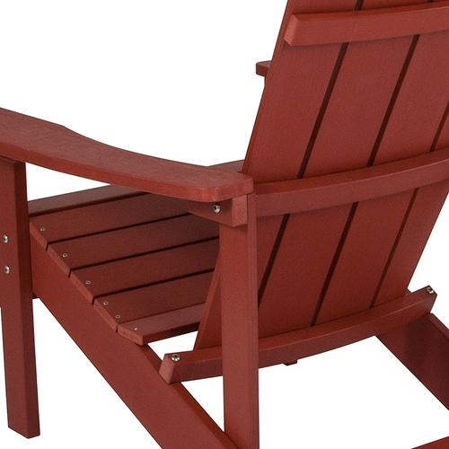 Flash Furniture - Charlestown All-Weather Poly Resin Wood Adirondack Chair in Red