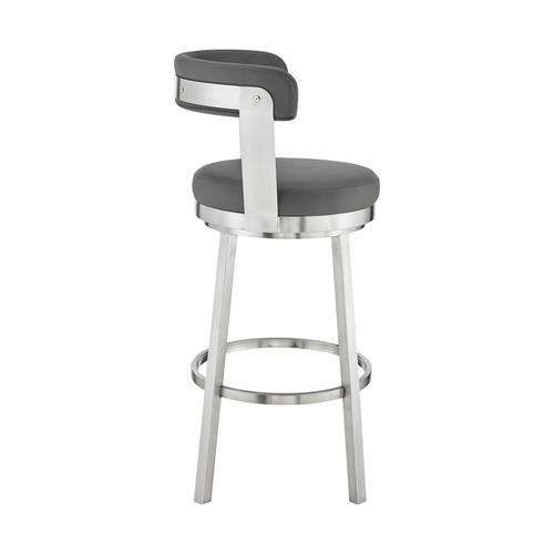 """Armen Living - Bryant 26"""" Gray Faux Leather and Brushed Stainless Steel Swivel Bar Stool"""