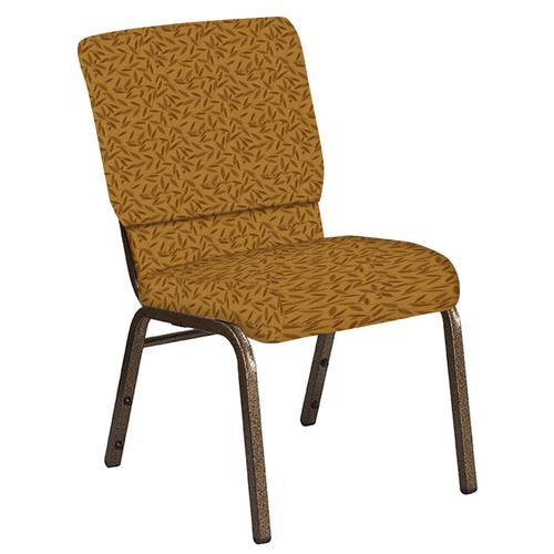 Flash Furniture - 18.5''W Church Chair in Jasmine Mojave Gold Fabric - Gold Vein Frame