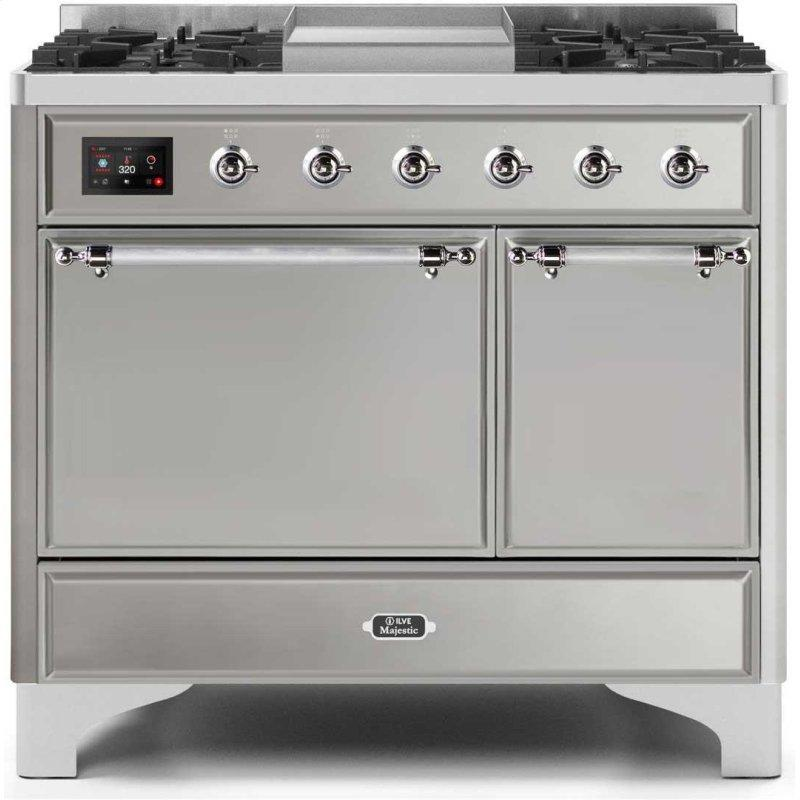 Umd10fdqns3ssc Ilve Majestic Ii 40 Inch Dual Fuel Natural Gas Freestanding Range In Stainless Steel With Chrome Trim Basco Liances