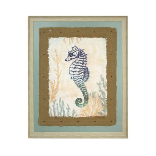 Style Craft - Seahorses print on linen embellished on burlap with nail heads 55X45X1
