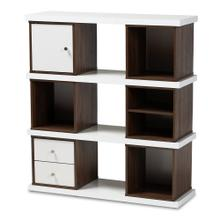 See Details - Baxton Studio Rune Modern and Contemporary Two-Tone White and Walnut Brown Finished 2-Drawer Bookcase