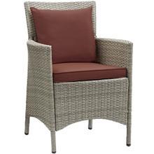Conduit Outdoor Patio Wicker Rattan Dining Armchair in Light Gray Currant