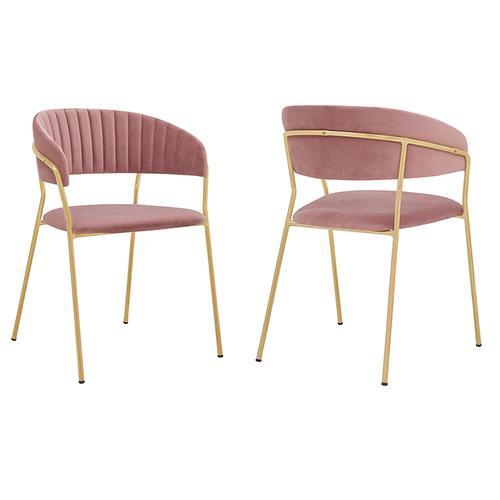 Armen Living - Nara Modern Pink Velvet and Gold Metal Leg Dining Room Chairs - Set of 2